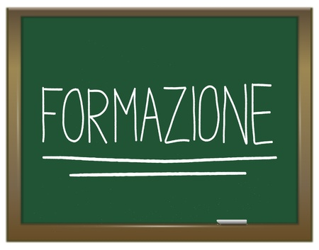 Illustration depicting a green chalkboard with  FORMAZIONE written on it in white  illustration