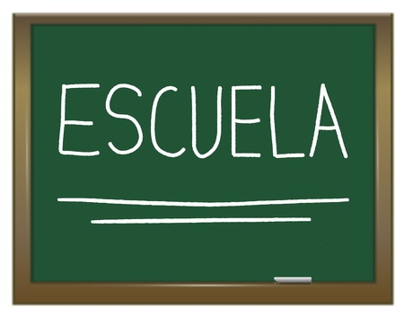 Illustration depicting a green chalkboard with ESCUELA written on it in white  illustration