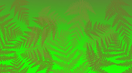 Abstract illustration depicting many green fern leaves against vivd green background  illustration