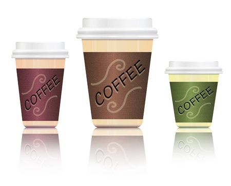 take away: Illustration depicting three take-out coffee containers in various sizes arranged over white and reflecting into foreground