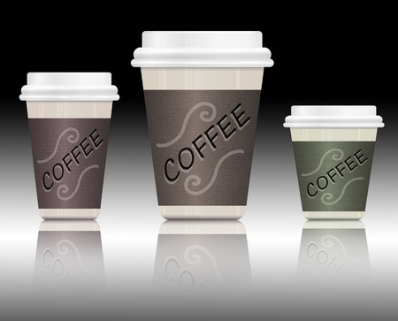 Illustration depicting three take-out coffee containers in various sizes arranged over monochrome background and reflecting into foreground  illustration