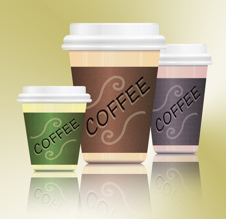 Illustration depicting three take-out coffee containers in various sizes arranged over subtle olive green gradient and reflecting into foreground  illustration
