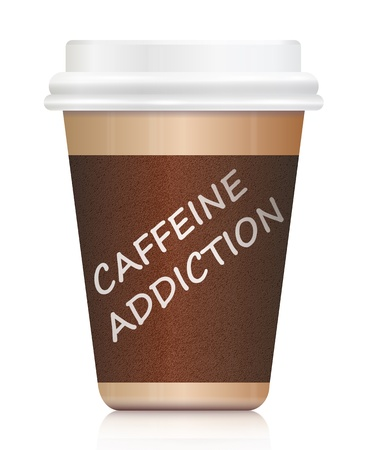 take away: Illustration depicting a single coffee take out carton withthe words CAFFEINE ADDICTION on it  Arranged over white