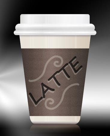 to go cup: Illustration depicting a single coffee take out carton withthe words LATTE on it  Arranged over monochrome background
