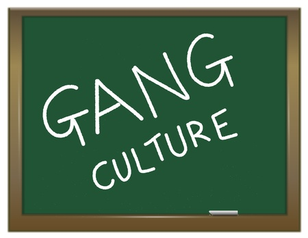 vandal: Illustration depicting a green chalk board with the white words GANG CULTURE written on it  Stock Photo