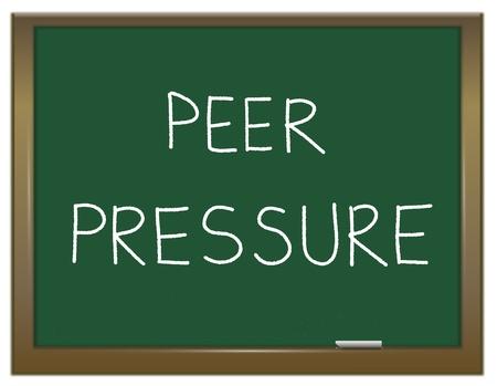 peer to peer: Ilustraci�n que muestra una pizarra verde con la presi�n de grupo blanco las palabras escritas en ella