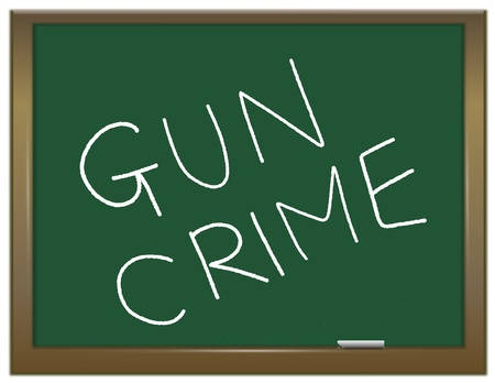 lethal: Illustration depicting a green chalk board with the white words GUN CRIME written on it  Stock Photo