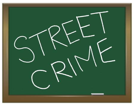 breaking law: Illustration depicting a green chalk board with the white words STREET CRIME written on it