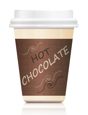 take away: Illustration depicting a single hot chocolate take out container arranged over white. Stock Photo
