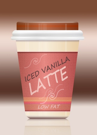 Illustration depicting a single take-out iced Latte container arranged over brown shades and reflecting into foreground  illustration