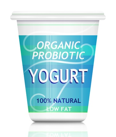 Illustration depicting a single organic probiotic yogurt container arranged over white