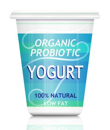 yaourt: Illustration repr�sentant un seul conteneur organique yogourt probiotique dispos�s sur blanc Banque d'images