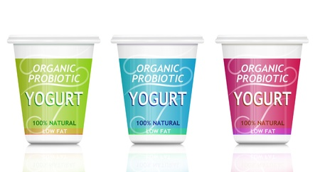 probiotic: Illustration depicting three organic probiotic yogurt containers arranged over white