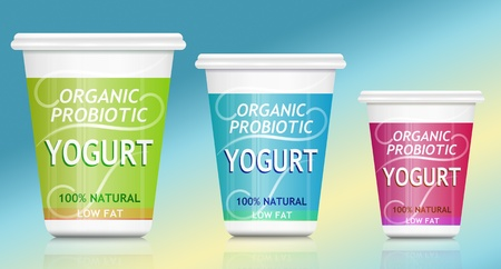 Illustration depicting three organic probiotic yogurt container arranged over blue and pale yellow
