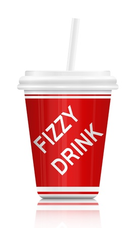 Illustration depicting a single plastic fizzy drink container with straw  White background  illustration