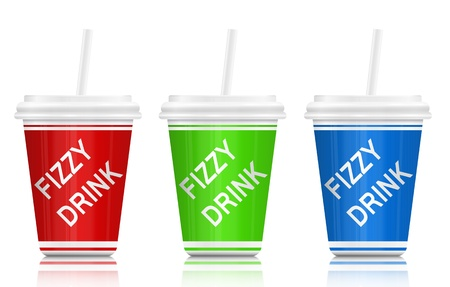 Illustration depicting three plastic fizzy drink containers with straws  White background  illustration