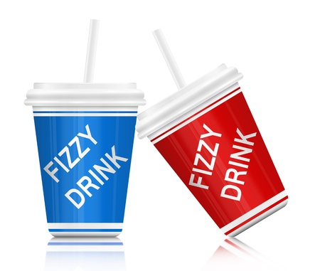 Illustration depicting two plastic fizzy drink containers with straws  White background  illustration