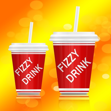 Illustration depicting two plastic fizzy drink containers with straws  Vibrant abstract yellow background Stock Illustration - 12861409