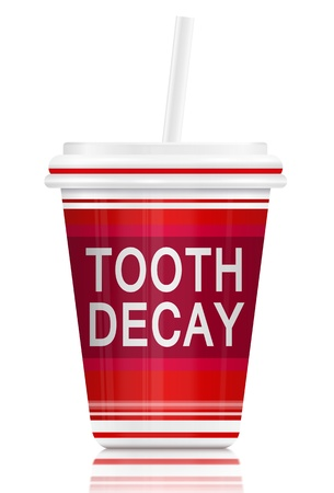 tooth decay: Illustration  depicting a fast food drink container with a tooth decay concept  Arranged over white  Stock Photo