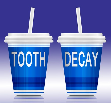 cavities: Illustration depicting two drink containers with a tooth decay concept arranged over blue and white