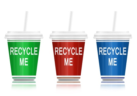 environmental awareness: Illustration depicting three drink containers with a recycling concept arranged over white