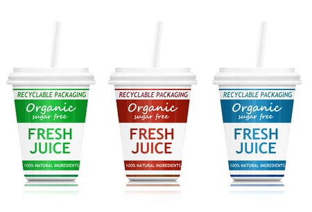 residuos organicos: Ilustración que representa a tres contenedores de comida rápida de bebidas con un concepto de salud y del medio ambiente distribuido en blanco Foto de archivo