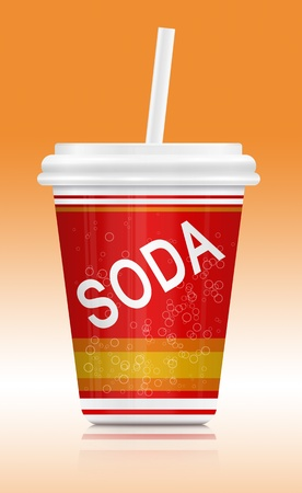 Illustration  depicting a fast food soda drink container  Arranged over orange to white gradient  illustration