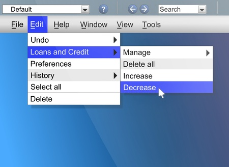 Illustration depicting computer screen shot with a credit and loans concept  illustration