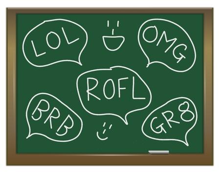 Die Illustration zeigt eine grüne Tafel mit einem Text-Diskussion Konzept darauf geschrieben Standard-Bild