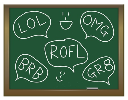 Illustration depicting a green chalkboard with a text talk concept written on it