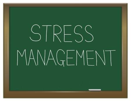 gesundheitsmanagement: Die Illustration zeigt eine gr�ne Tafel mit einem Stress-Management-Konzept, das auf ihn geschrieben Lizenzfreie Bilder