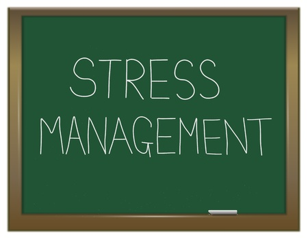 coping: Illustration depicting a green chalkboard with a stress management concept written on it