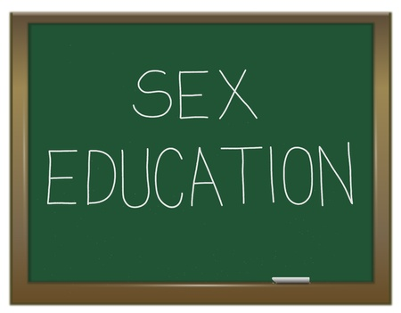 sex education: Illustration depicting a green chalkboard with a sex education concept written on it  Stock Photo