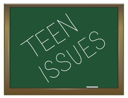 adolescencia: Ilustración que muestra una pizarra verde con un concepto de problemas de los adolescentes escrita en ella