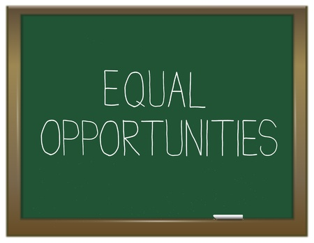 equal to: Illustration depicting a green chalkboard with an equal opportunities concept written on it
