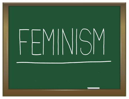 human gender: Illustration depicting a green chalkboard with a feminism concept written on it