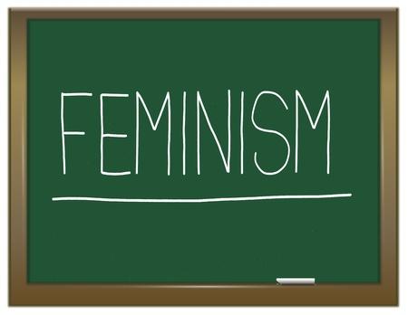 feminismo: Ilustraci�n que muestra una pizarra verde con un concepto del feminismo escrito en �l Foto de archivo