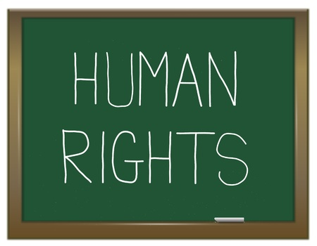 rights: Illustration depicting a green chalkboard with a human rights concept written on it