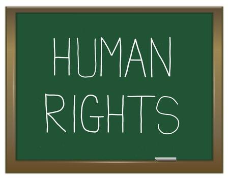 derechos humanos: Ilustraci�n que muestra una pizarra verde con un concepto de los derechos humanos escrito en �l