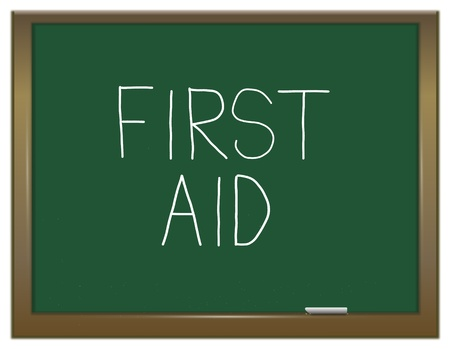 Illustration depicting a green chalkboard with a first aid concept written on it  Stock Illustration - 13085424