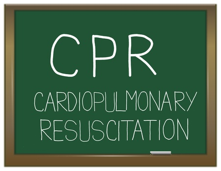 cpr: Illustration depicting a green chalkboard with a life saving concept written on it