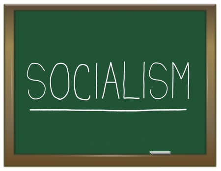 socialism: Illustration depicting a green chalkboard with a socialism concept written on it
