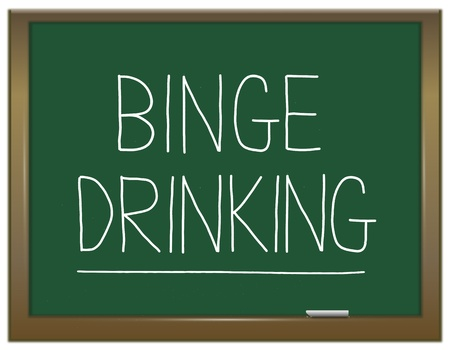 Illustration depicting a green chalkboard with a binge drinking concept written on it  illustration