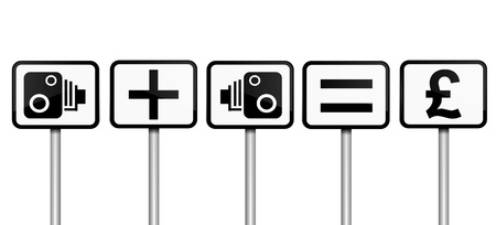 deterrent: Illustration depicting road signs with speed camera financial gain concept  White background  Stock Photo