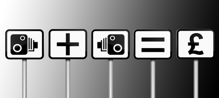 deterrent: Illustration depicting road signs with speed camera financial gain concept  Black and white gradient background