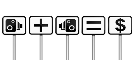 deterrent: Illustration depicting road signs with speed camera financial gain concept  White gradient background
