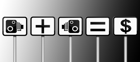 Illustration depicting road signs with speed camera financial gain concept  Black and white gradient background  illustration