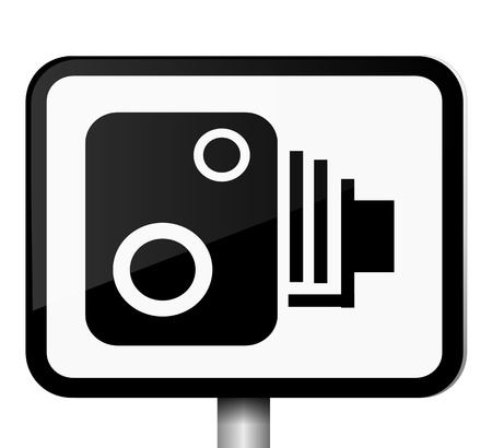 warning against a white background: Illustration depicting a single black and white speed camera warning sign against white background
