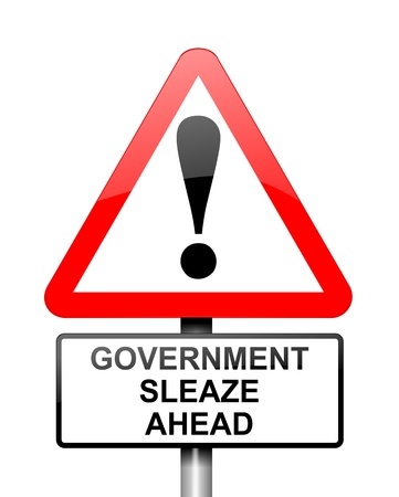 Illustration depicting red and white triangular warning road sign with a government sleaze concept  White background Stock Illustration - 13218518