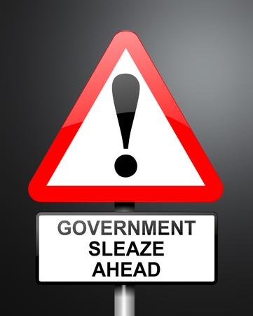 corrupcion: Ilustración que muestra el rojo y blanco señal triangular de advertencia en carretera con un fondo del gobierno concepto de sordidez Oscuro